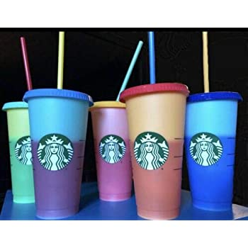 78974ccbda5 Starbucks Reusable COLOR CHANGING Cold Cup Collection Pack Of 5 W/Lids  Straws 24 oz