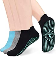 Non Slip Socks Anti Skid Grip for Women Pilates, Yoga, Pure Barre, Ballet, Dance, Barefoot Workout.