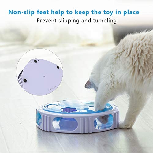 DADYPET Interactive Cat Toy, Electric Cat Toy with Bell Spinning Rotating Feather, Automatic Teaser Exercise Kitten Toy for Cat Entertainment, Training or Hunting(Battery Included) 6