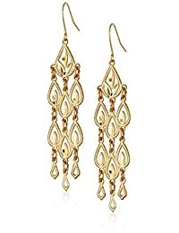 """14k Yellow Gold Diamond-Cut Chandelier Drop Earrings, 1.95"""""""