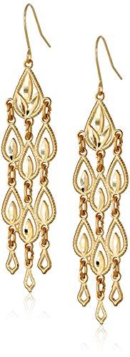 14k Yellow Gold Diamond-Cut Chandelier Drop Earrings, 1.95