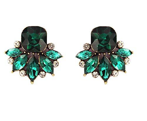 Large Art Deco Antique Vintage Retro Style Green Emerald Rhinestone Bridal Bridesmaid Wedding Prom Cluster Earrings