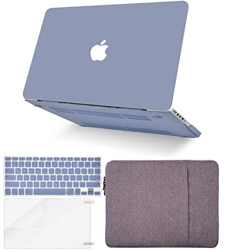 """KECC Laptop Case for MacBook Air 13"""" Retina (2020/2019/2018, Touch ID) w/Keyboard Cover + Sleeve + Screen Protector (4 in 1 Bundle) Plastic Hard Shell Case A1932 (Lavender Grey)"""