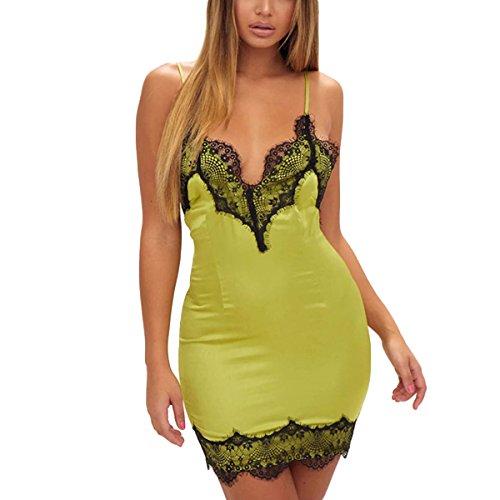 Riojay Women Sexy V Neck Spaghetti Strap Backless Satin Lace Bodycon Pencil Mini Dress Size M (Green)