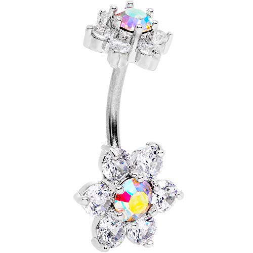 Body Candy 316L Stainless Steel Navel Ring Clear Aurora Accent Flower Double Mount Belly Button Ring (Double Rings Mount Belly Button)