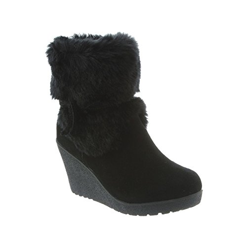 BEARPAW Women's Penelope Boot Black II Size 10 B(M) US (Fur Trim High Heel Suede)