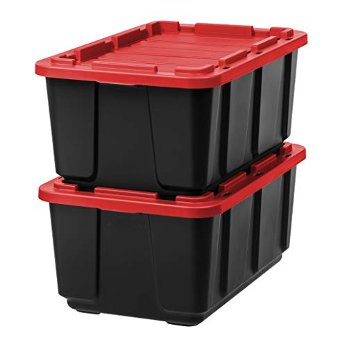 IRIS USA, Inc. UTB-27 27 Gallon Utility Tough Tote, 2 Pack, Red/Black, 2 Count