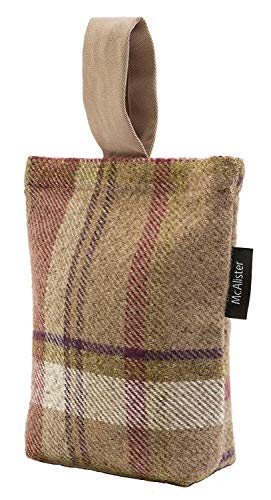 McAlister Textiles Heritage | Mulberry Purple + Green Wool Feel Decorative Door Stop Tartan Plaid Patterned Doorstop Anti Colision 8x6 Inches