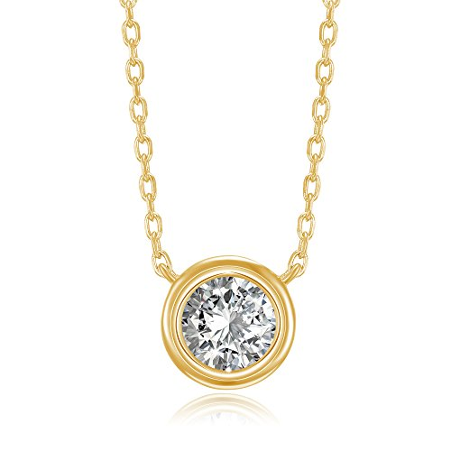 PAVOI 14K Yellow Gold Plated 1.00 ct (D Color, VVS Clarity) CZ Simulated Diamond Bezel-Set Solitaire Choker Necklace   Sterling Silver Necklace for Women
