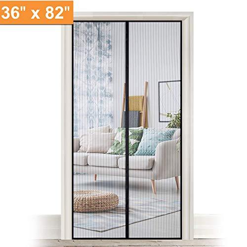 LELEKEY Magnetic Screen Door Fits Doors up to 36 x 82 inch,Durable Heavy Duty Magic Mesh Curtain and Full Frame Hook & Loop,Sliding Door Net with Magnet