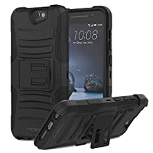 HTC One A9 Case, MoKo Shock Absorbing Hard Cover Ultra Protective Heavy Duty Case with Holster Belt Clip + Built-in Kickstand for HTC One A9 5.0 Inch (2015) - Black