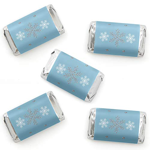 Winter Wonderland – Mini Candy Bar Wrapper Stickers – Snowflake Holiday Party and Winter Wedding Small Favors – 40 Count