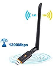 Dual Band USB WiFi Adapter 1200Mbps USB 3.0 802.11 ac draadloze netwerkadapter 2.42GHz / 300Mbps Plus 5,8GHz / 866Mbps 5dBi High Gain Portable antenne voor Desktop Laptop van de tablet