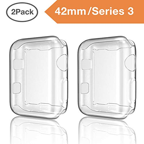 for Apple Watch Case iWatch Screen Protector TPU All-Around Protective Case Clear Ultra-Thin Cover for Apple Watch Series 3, 2 Pack case (Clear, for 42mm Apple Watch case)