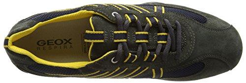 Geox UOMO SNAKE - Zapatillas Hombre Gris Oscuro / Amarillo