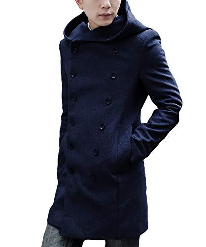 [meryueru(メリュエル)] ダブルボタン ビッグフード ダウンコート スタイリッシュ 大人 カジュアル 秋 冬 春 メンズ