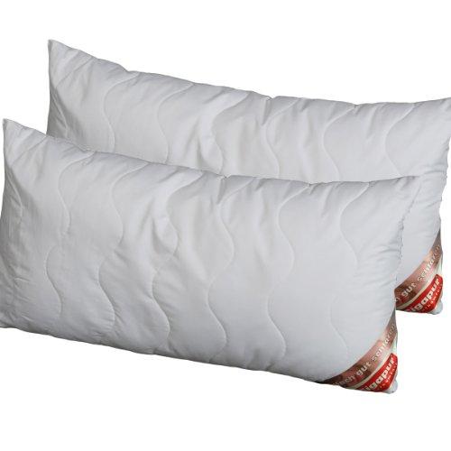 Doppelpack 25% billiger Gigapur kochfestes,gestepptes, Allergiker Kopfkissen Micro 40x80cm Microfaser Feinbatist Kissen