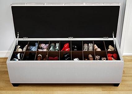 The Sole Secret Loft Charcoal Diamond Tufted Shoe Storage Bench, Large