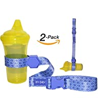 **FLASH SALE** HnyBaby 2 Pack Sippy Cup Strap Baby Bottle, Toy Strap, Sippy Cup Holder for Stroller & Highchair (Blue)