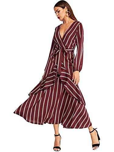 (Milumia Women's Long Sleeve Ruffle Belted Self Tie Striped Maxi Waist Dress Burgundy)