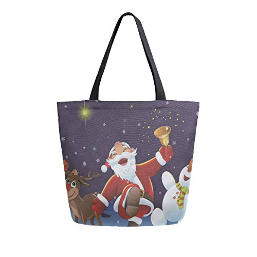 Womens Canvas Tote Bag Christmas Santa Claus Snowman Elk Large Shopping Bag Shoulder Handbag