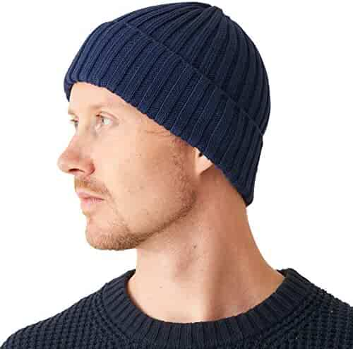 152f6d110aa CHARM Mens Fisherman s Beanie Hat - Cotton Slouch Cap Women Chemo Knit  Winter