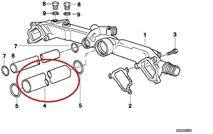 amazon.com: genuine bmw e39 540i e38 740i 740il e53 x5 4.4i x5 4.6is  coolant transfer pipe 11531741202: automotive  amazon.com