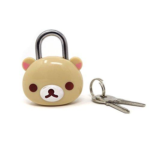 (Honbay Cute Beige Bear Lock Padlock with Keys for Suitcases, Backpacks and Lockers)
