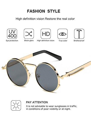 Dorado Hombres Círculo Para Gris Espejo de de Kennifer Redondas Eyewear Gafas Metal Sol Mujeres Ronda UV400 y Gafas Marco UqxB6q