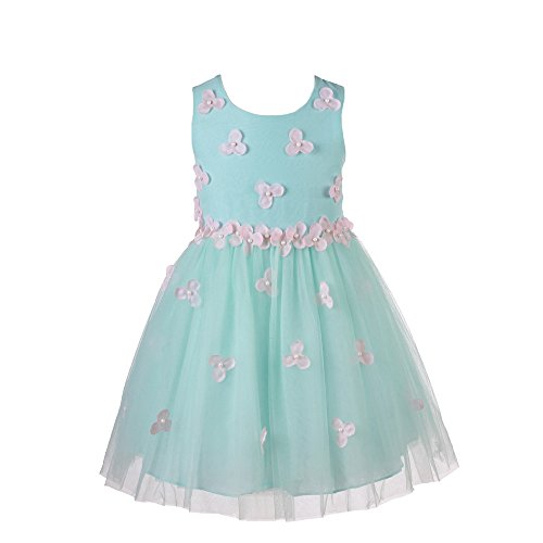 Super Cute Fashion Designer Flowers Girls Dresses for Party,Wedding,Pageant Size 4-12 (8, 011(Blue)) (Girls Designer Party Dresses)