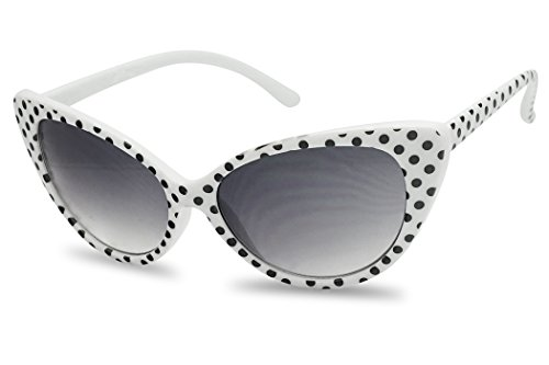 Sunglass Stop - Cute Small Round White Polka Dot 50s 60s Cat Eyes Sunglasses (White, Gradient Lens)