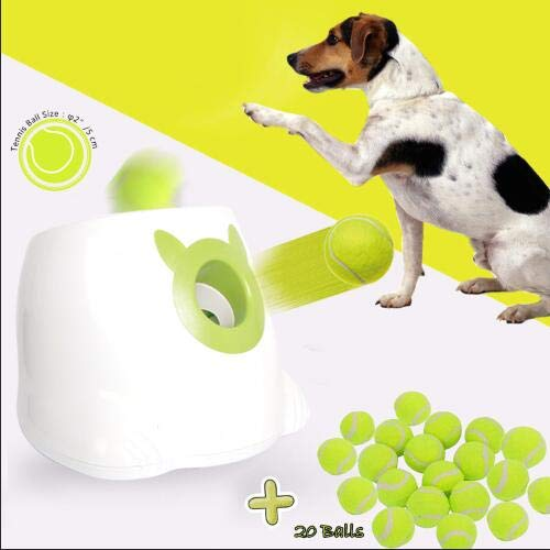 Dporticus Automatic Interactive Dog Tennis Ball Launcher Throwing Machine for Training and Playing,20 Balls
