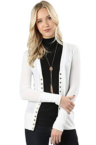 Cardigans for Women Long Sleeve Cardigan Knit Snap Button Sweater Regular & Plus - Ivory (Size M) ()