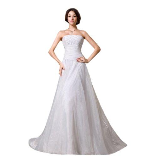 Dearta Women's A-Line Strapless Chapel Train Wedding Dress US 18 White A-line Strapless Chapel Train