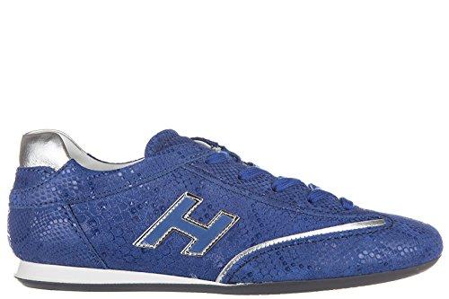Hogan Damenschuhe Turnschuhe Damen Leder Schuhe Sneakers olympia h flock blu