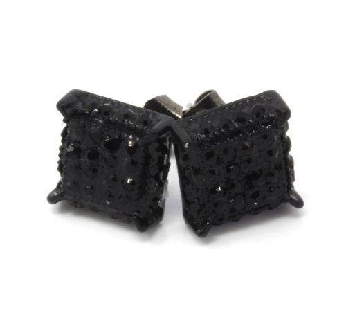 Mens Black Tone Black Cz Cube Iced Out - Mens Earrings Cube