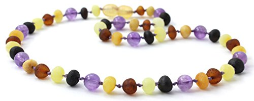 Baltic Amber Adult Necklace made with Amethyst and Rose Quartz Beads - BoutiqueAmber Size 45 cm 17.7 inches, Cherry//Amethyst//Quartz 17.7 inches