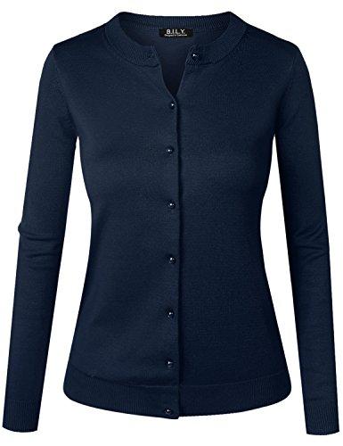 Blue Knit Cardigan Sweater - BILY Women's Unique Button Long Sleeve Soft Knit Cardigan Sweater Navy Small