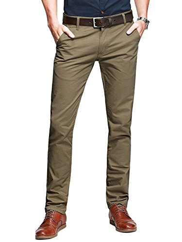 OCHENTA Men's Slim Tapered Flat Front Casual Dress Pants Dark Khaki Lable 32