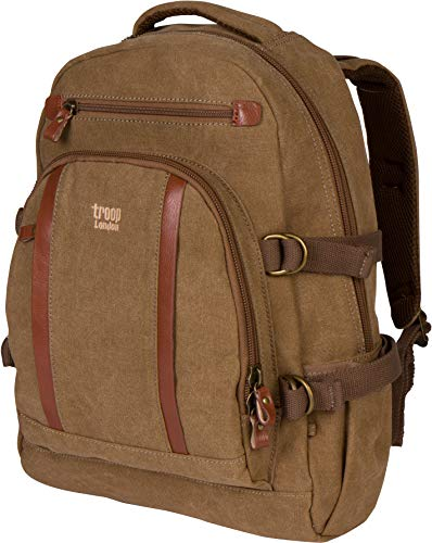 Troop London Canvas Padded Backpack Fits 15.5 Inch Laptop Size Large TRP0257 (2 - Brown) (London Troop)