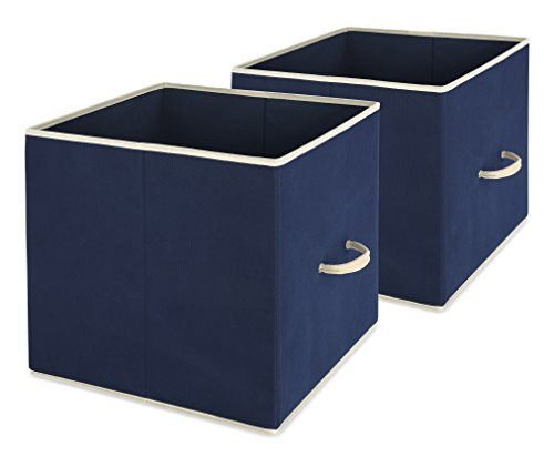 Whitmor Collapsible Storage Bin, Set of 2 - Foldable Cloth Storage Cube – Perfect Organizer for Playrooms, Living Room or Bedroom – Space Saving Design – Durable – Color Navy by (Whitmor Collapsible Storage Cubes)