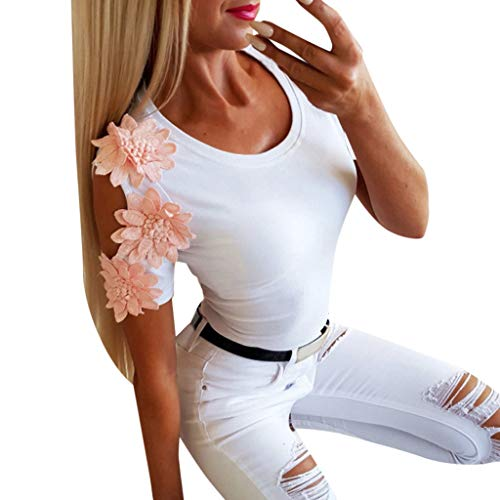 MOSERIAN Womens Embroidered Short Sleeves Hollow Out White T-Shirt Blouse Tops