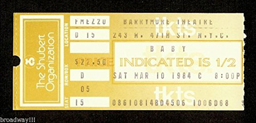 """Maltby & Shire """"Mollycoddle"""" Liz Callaway / Beth Fowler / Todd Graff 1984 Ticket Stub"""