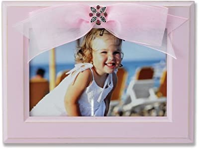 Lawrence Frames 4 by 6-Inch Pink Wood Picture Frame with Pink Ribbon by Lawrence Frames