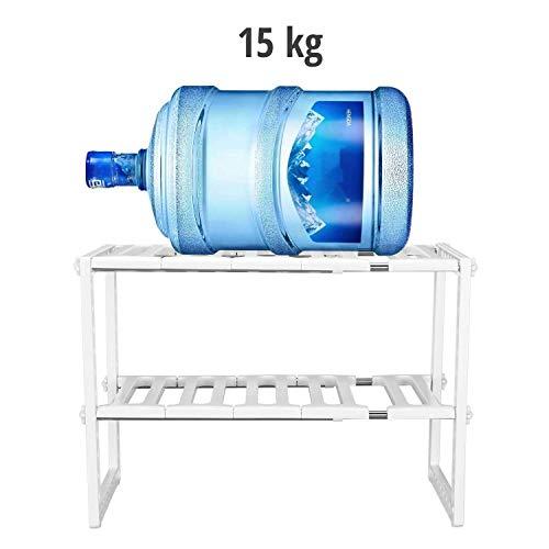 Qisiewell Almacenaje bajo Fregadero Estantería para Armario de Fregadero Estantes Multifunción 2 Niveles Acero Inoxidable y Plástico Regulable en Altura: ...