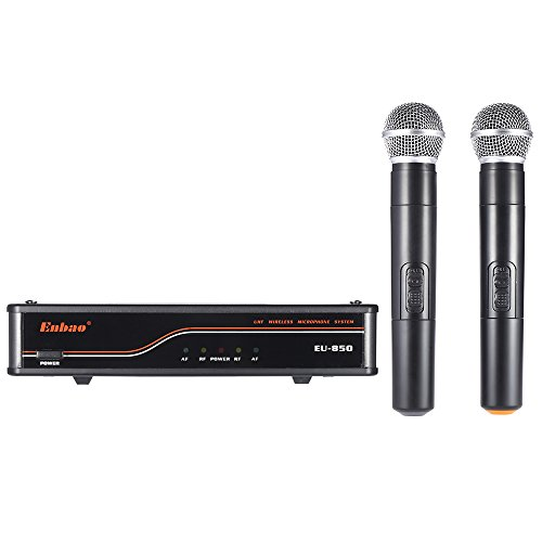 Walmeck Wireless Microphone System UHF Mic System 2 Microphones 1 Receiver XLR Output Audio Cable Power Adapter for Karaoke Meeting Party by Walmeck