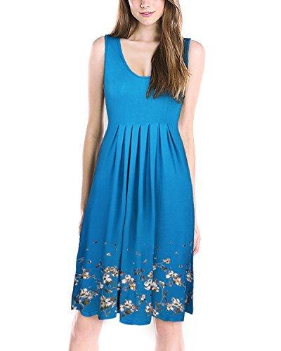 KILIG Summer Casual Loose Print Pleated Sleeveless Vest Dresses(Blue, L)