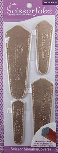 Scissors by SCISSORFOBZ with ScissorGripper -Value Pack-4 Sizes- Designer Scissor sheaths Covers Holders for Embroidery Sewing Quilting - Quilters sewers Gift - Metallic Matte Gold. #30