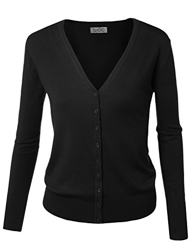 (BIADANI Women Button Down Long Sleeve Soft V-Neck Cardigan Sweater Black XX-Large )
