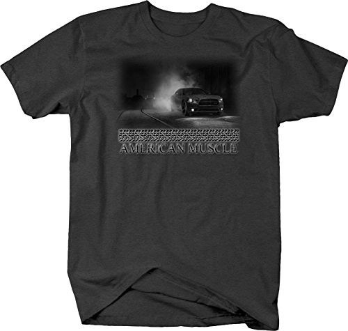 Bold Imprints Retro - American Muscle Dodge Challenger Burnout at Night City Tshirt - Large Retro Burnout T-shirt